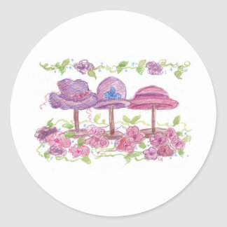 Fancy Hats and Flowers Round Stickers