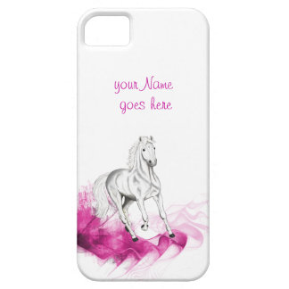 fancy horse design, grey stallion & pink waves iPhone SE/5/5s case