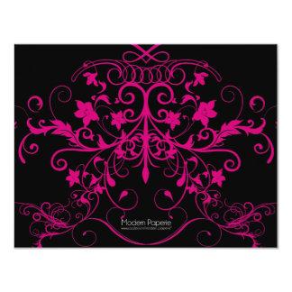 Fancy Hot Pink & Black  Flourish Invitation