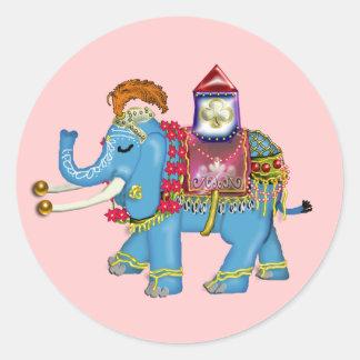 fancy indian elephant classic round sticker