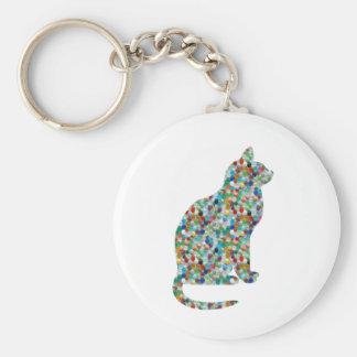 FANCY Jewel n Stones Studded  CAT -  Pet Animal Basic Round Button Keychain