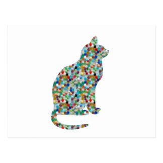 FANCY Jewel n Stones Studded  CAT -  Pet Animal Postcard