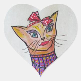 Fancy Kitty Cat with Bow Sticker