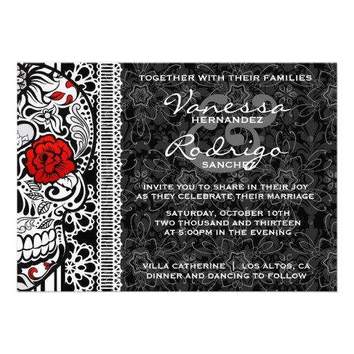 Fancy Lace Sugar Skull Day of the Dead Invite