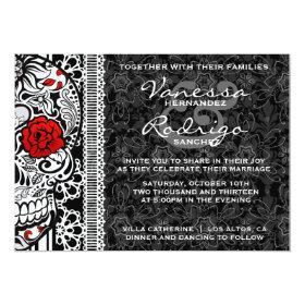 Fancy Lace Sugar Skull Day of the Dead Invite 5
