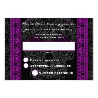 Fancy Lace Sugar Skull day of the Dead Purple Card