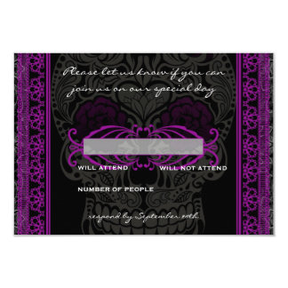 Fancy Lace Sugar Skull Day of the Dead RSVP 3.5x5 Paper Invitation Card
