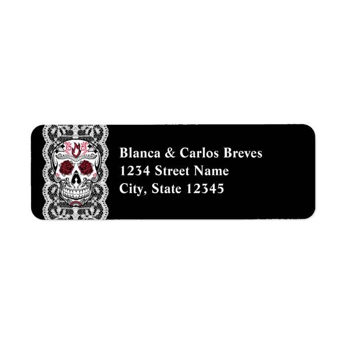 30 Custom Fancy Sugar Skull Personalized Address Labels