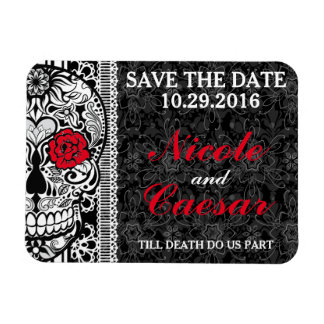 Fancy Lace Sugar Skull Save the Date Magnet