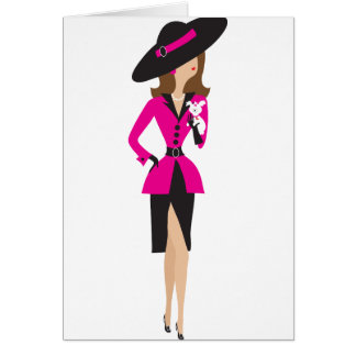 Fancy Lady and Puppy Greeting Card