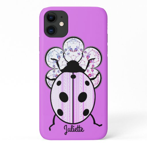 Fancy Ladybug on a Fancy Flower to Personalize iPhone 11 Case