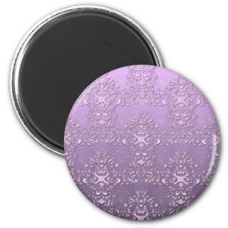 Fancy Lavender and Purple Two Tone Damask 2 Inch Round Magnet