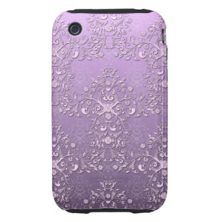 Fancy Lavender and Purple Two Tone Damask iPhone 3 Tough Case