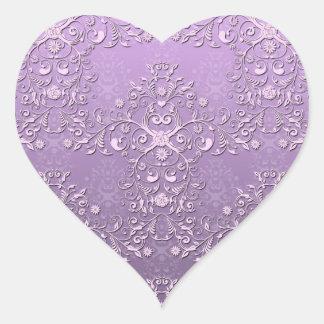 Fancy Lavender and Purple Two Tone Damask Heart Sticker