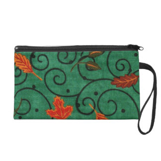 Fancy Leaves Wristlet Clutches