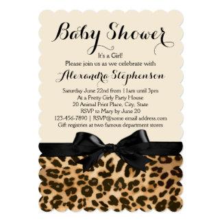 Fancy Leopard Black Bow Girl Baby Shower Card