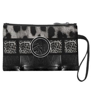 Fancy Leopard Leather Monogram Wristlet
