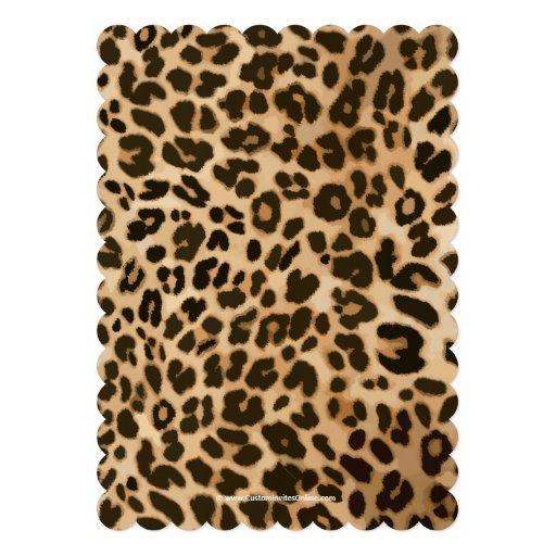 Fancy Leopard Pink Bow Girl Baby Shower Invitation (back side)