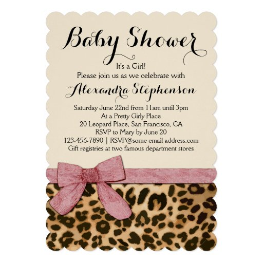 Fancy Leopard Pink Bow Girl Baby Shower Invitation