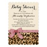 Fancy Leopard Pink Bow Girl Baby Shower Invitation
