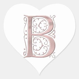 Fancy Letter B 1 Heart Sticker