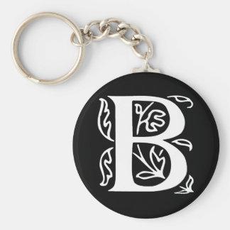 Fancy Letter B Basic Round Button Keychain