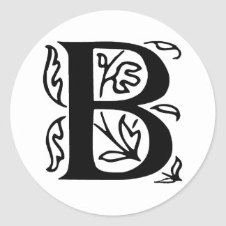 Fancy Letter B Classic Round Sticker