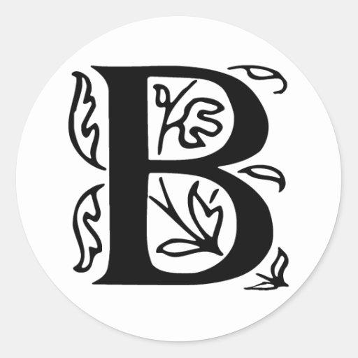 Fancy Letter B Classic Round Sticker