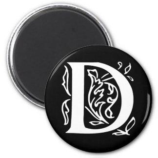 Fancy Letter D 2 Inch Round Magnet