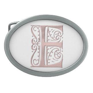 Fancy Letter E 1 Oval Belt Buckle