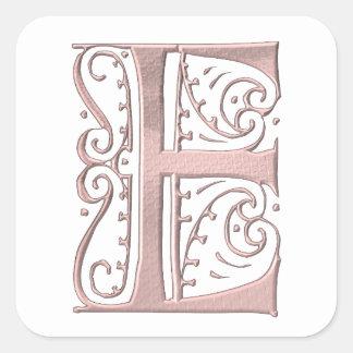 Fancy Letter E 1 Square Stickers