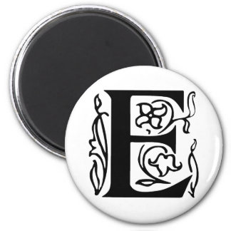 Fancy Letter E 2 Inch Round Magnet