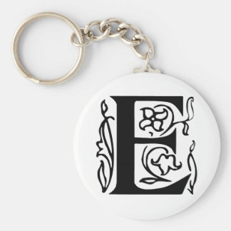 Fancy Letter E Basic Round Button Keychain