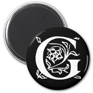 Fancy Letter G 2 Inch Round Magnet