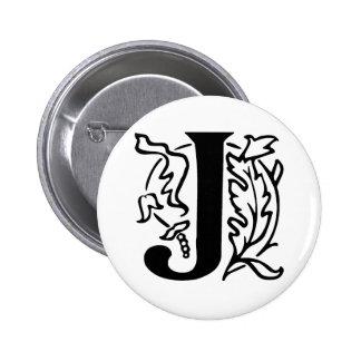 Fancy Letter J 2 Inch Round Button