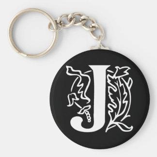 Fancy Letter J Basic Round Button Keychain
