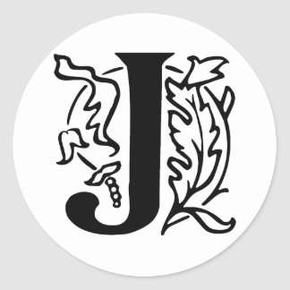 Fancy Letter J Classic Round Sticker