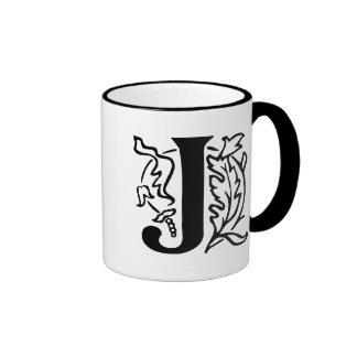 Fancy Letter J Ringer Coffee Mug