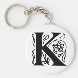 Fancy Letter K Basic Round Button Keychain