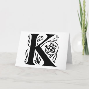fancy letter k note card
