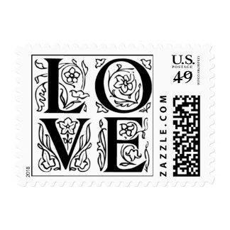 Fancy Letter Love Postage Stamps