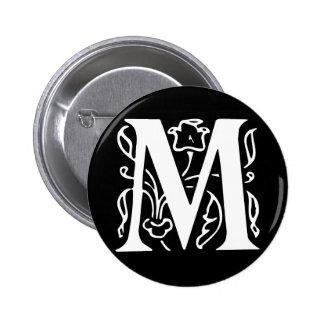 Fancy Letter M 2 Inch Round Button