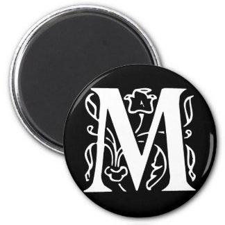 Fancy Letter M 2 Inch Round Magnet