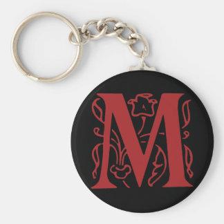 Fancy Letter M Basic Round Button Keychain