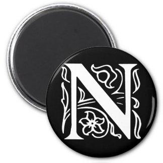 Fancy Letter N 2 Inch Round Magnet
