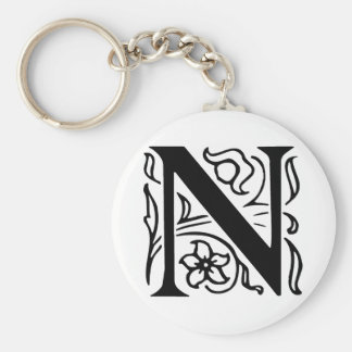 Fancy Letter N Basic Round Button Keychain