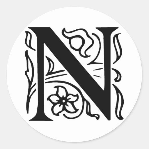 fancy n letter fancy_letter_n_round_sticker