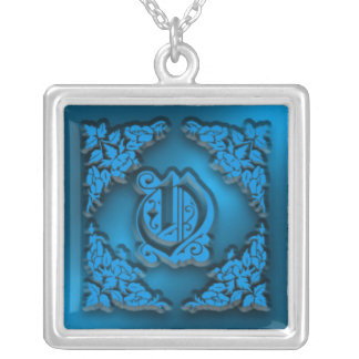 Fancy Letter O Blue Initial Necklace