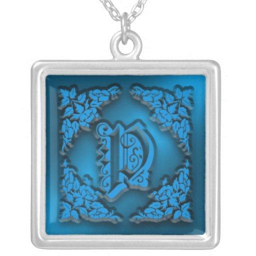 Fancy Letter P Blue Initial Necklace