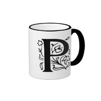Fancy Letter P Ringer Coffee Mug